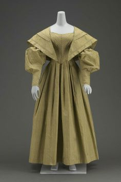 Dress, Matching Cape: 1838, American, silk figured weave and cotton lining.