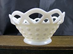 Milk Glass Candy Bowl Lace Edge Imperial by BonniesVintageAttic
