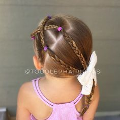 Today we are all about the braids!! Side criss-crossed braids, braids, and another braid! Sweet bow from @bellabeanbows!