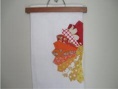 Flour Sack Tea Towel with Dresden Plate Embellishment ((milo & molly)) Flour Sack Towels, Tea Towels, Dresden Plate, Plate Design, Coordinating Fabrics, Green Christmas, Orange, Yellow, Fabric Scraps