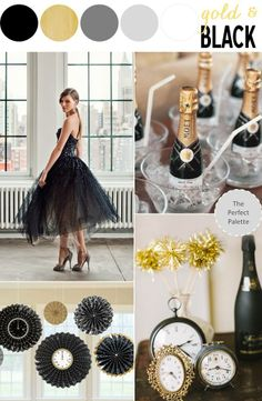 Make #NYE last a little longer with a #gold & #black themed wedding!
