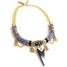 Celine h2o Aiko Grey Rope Choker Necklace With Gold Beads and Wood... (11495 ALL) ❤ liked on Polyvore featuring jewelry, necklaces, golden, wooden bead necklace, statement necklaces, gold bead necklace, spiked choker necklace and leaf necklace