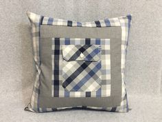 Sewing Men Projects Memory Pillow, Men Shirts, Custom Made, Handmade, Made to Order Memory Pillow From Shirt, Memory Pillows, Memory Quilts, Sewing Pillows, Diy Pillows, Easy Sewing Projects, Sewing Crafts, Sweater Pillow, Shirt Pillows