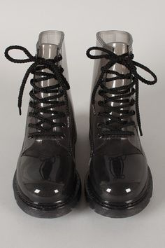 & spring is 'round the bend. Jelly Lace Up Rain Boot # Iwantit Sock Shoes, Cute Shoes, Me Too Shoes, Rain Boots, Shoe Boots, Shoes Heels, Looks Style, My Style, Jelly Shoes