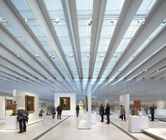 Musée du Louvre-Lens by Sanaa architectes / photography by Hufton + Crow Museum Architecture, Architecture Design, Architecture Interiors, Skylight Design, Artwork Lighting, Metal Facade, Exhibition Booth Design, Exhibition Space, Arquitetura