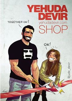 "Yehuda and Maya Devir, a married couple, Israeli comic artists and the creators of the popular web comics ""One of Those Days"" Cute Couple Comics, Couples Comics, Cute Couple Art, Couple Cartoon, Funny Couples, Caricature, Yehuda Devir, Relationship Comics, Online Comics"