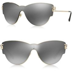 Versace Women's 142MM Mirrored Shield Sunglasses (4.745 ARS) ❤ liked on Polyvore featuring accessories, eyewear, sunglasses, apparel & accessories, grey, grey sunglasses, mirror glasses, mirrored lens sunglasses, grey glasses and mirrored glasses