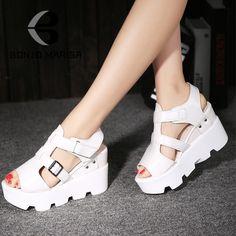 Удобные женские гладиатор обувь мода клинья пряжки платформа летние сандалии свободного покроя обувь женщина купить на AliExpress