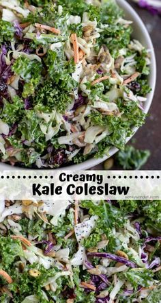 This Kale Slaw Salad Recipe is the best of both worlds, kale salad and coleslaw combined to make a tasty nutritious side dish. Kale, cabbage, seeds and dried cranberries tossed with a creamy poppy seed dressing . Cabbage Salad Recipes, Slaw Recipes, Cabbage Slaw, Cabbage Seeds, Healthy Recipes, Best Kale Salad Recipe, Healthy Meals, Quick Meals, Veggie Recipes