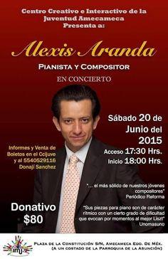 #LunesparaCompartir la invitación al concierto de #AlexisAranda en el Centro Creativo e Interactivo de la Juventud, el próximo 20 de junio de 2015 #ColectivoGentedePapel #ConsumeCultura