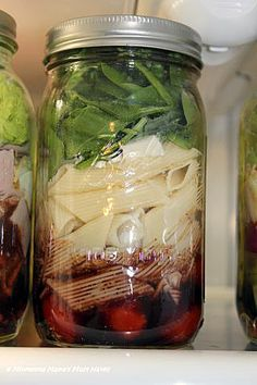 Caprese Pasta Salad Mason Jar Recipe    Ingredients:    4 oz Balsamic Vinaigrette Dressing    1 Cup Cherry Tomatoes    1 1/2 Oz Fresh Mozzarella, cut into bite size pieces    2 oz cooked penne pasta- cook al dente and rinse in cold water after draining    1/2 C Spinach Leaves    1/2 C Fresh basil, chopped