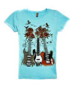 Loving this Aqua Rose Guitars Tee - Girls on #zulily! #zulilyfinds