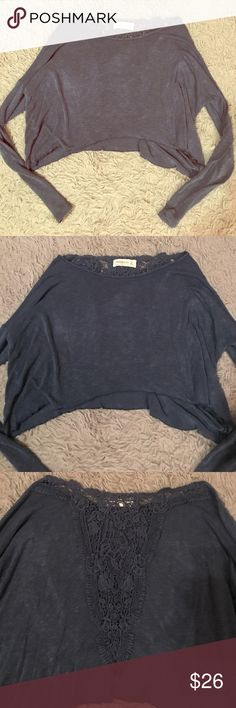A&F OFF SHOULDER CROP TOP Abercrombie and Fitch blue off shoulder crop top. Crotchet detailing on the back. In good condition. Abercrombie & Fitch Tops Crop Tops