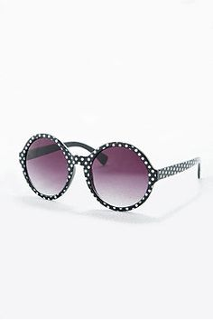 Round Frame Sunglasses in Polka Dot