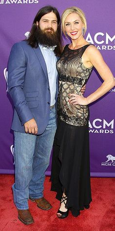 Jep and Jessica Robertson at the 2013 ACMs Academy Of Country Music, Country Music Awards, Jep And Jessica, West Monroe, Duck Commander, Duck Dynasty, Red Carpet Dresses, Fashion Spring, Celebrity Style