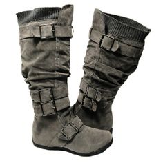 $26.95 New Womens Knee High Adjustable Straps Suede Flat Boots Gray Shoes Size 5.5 -10