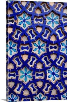 A tile from the Mausoleum of Shah Rukn-e-Alam Wall Art, Canvas Prints, Framed Prints, Wall Peels Tile Patterns, Pattern Art, Textures Patterns, Pattern Design, Tile Art, Mosaic Tiles, Teal Tiles, Blue Mosaic, Wall Tile