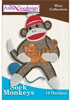 sock animal embroidery designs | Anita Goodesign | Sock Monkeys - Anita Goodesign