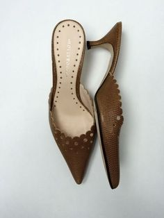 Hollywould 10 Brown Lizard Leather Mules Slides Kitten Heels Pumps Hollywood #Hollywould #KittenHeels