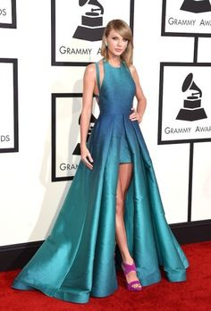 Taylor Swift in Elie Saab at the Grammy Awards 2015. Click on the image to read more.