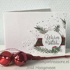 Holly Berry Hapiness meets Christmas Pines stamp set and Pine Bought embossing folder #stampinup #christmas #card #kerst #kaart #doehetzelf #diy Stampin Up producten koop je bij www.stampintreasure.nl