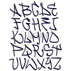 Graffiti font Buchstaben des Alphabets Hip Hop Typ grafitti Design Lizenzfreie Bilder