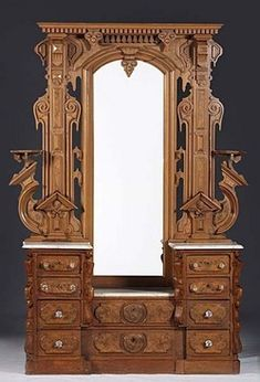 Furniture America American Circa A Victorian Renaissance Revival Bedroom Suite Consisting Of Bed And Dresser In W