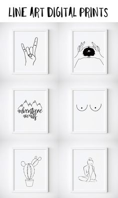Line Art Printables. Tumblr Room Decor. Etsy