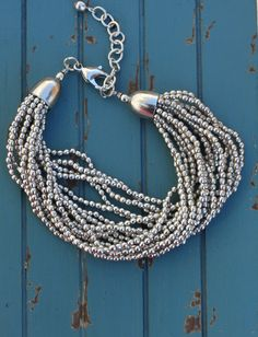 Chunky silver bead bracelet. Perfect with any outfit color or style!