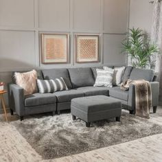 Shop for Zahra Fabric Sofa Sectional with Storage Ottoman by Christopher Knight Home. Get free delivery On EVERYTHING* Overstock - Your Online Furniture Shop! Sectional Ottoman, Fabric Sectional, Corner Sectional, Couches, Small Sectional, Sleeper Sectional, Couch With Ottoman, Grey Ottoman, Grey Sectional