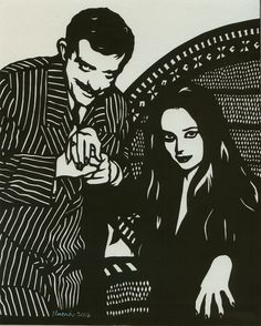 Hand Cut Paper Gomez and Morticia Addams by themoonlightmuse, $40.00