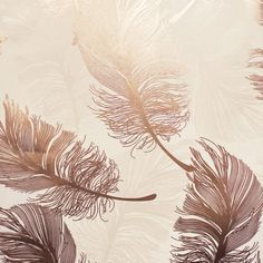 Crown Luxe Wallpaper | Plume Foil Rose Gold | M1391