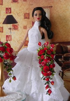 Tonner Fahion Royalty, Poppy Parker, Wedding Bouquet, Flowers Red OOAK Barbie