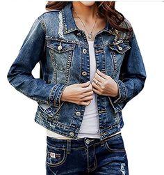 83649363ebf05f MMCP Women s Distressed Ripped Single breasted Short Denim Jackets Denim  blue L