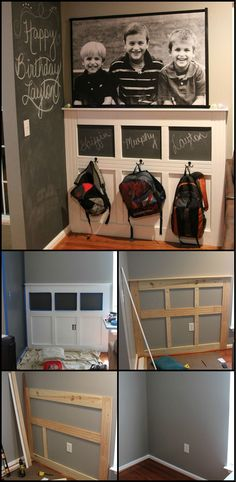 How To Build A Backpack Station Keeping the school stuff together makes the stress of mornings less for everyone in the family. If you're looking for storage system for your kid's backpacks, then this DIY backpack station might interest Easy Diy Projects, Home Projects, Backpack Station, Diy Backpack, Backpack Wall, Backpack Hooks, Mudroom, Home Organization, Organization Station