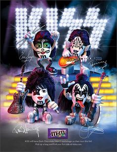2009 magazine ad M&M's KISS mms M&M candy rock band gene simmons paul stanley Paul Stanley, Banda Kiss, Kiss World, Minions, Candy Stand, M M Candy, Kiss Art, Kiss Pictures, Hot Band