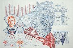 Gesichter von einer jungen und einer alten - (demenz)erkrankten?- Frau in den Farben Rot und Blau.