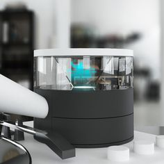 Imagine a turntable with a portable and detachable phonograph-style horn speaker and a miniature holographic display accompanying the music. Thomas Alva Edison, Holographic Displays, Horn Speakers, Phonograph, Turntable, Bluetooth, Gadgets, Miniatures, Technology