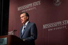 """America needs heroes. You don't have to be larger than life to be a hero, just larger than yourself."" Mitt Romney at Mississippi State"