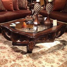 Clearbrook 2 Piece Coffee Table Set by Fleur De Lis Living Pedestal Coffee Table, Solid Wood Coffee Table, Glass Top Coffee Table, Cool Coffee Tables, Coffee Table With Storage, Coffe Table, Living Room Sets, Living Room Furniture, Fine Furniture