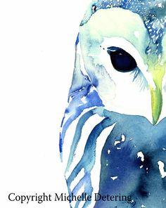 Owl in blauwe schilderkunst  aquarel Print  aquarel Owl Owl