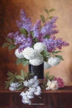 Paul De Longpre - White Hydrengia and Purple Lilacs, Oil on Canvas