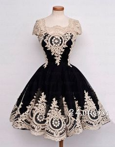Black Tulle Lace Short Prom Dress,Homecoming Dress – 24prom