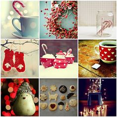 Christmas essentials: yummy hot chocolate, wreath, warm gloves, tea and biscuits, festive lights