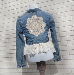 Denim jackets: Boho Denim Blazer Jacket Blue Jean Lace by Gallima. Denim Blazer, Jeans Denim, Denim Outfit, Blazer Jacket, Recycled Fashion, Recycled Denim, Denim Fashion, Boho Fashion, Diy Vetement