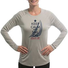 Altered Latitudes Women's Keep Calm and Sail On Annapolis Sailing UPF Long Sleeve T-Shirt Small Athletic Grey