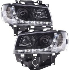 VW Transporter Black DRL Devil Eye Projector Head Lights Manual Adjust, Long Nose Only Comes Complete With Headlight Bulbs. Vw T4 Transporter, Headlight Bulbs, Motor Car, Volkswagen, Devil Eye, Lights, Manual, Play, Vehicles
