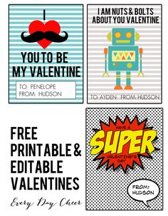 Free printable (and editable) Valentines for boys.