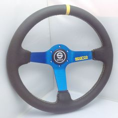 Sparco 350mm Leather Blue Stand Steering Wheel Deep Dish OMP MOMO Rally Drift Ra #Sparco