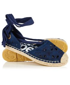 Superdry women's Lola lace up espadrilles. An update to the traditional espadrille with lace detailing on the upper as well as lace up ankles. The espadrilles also come with a reinforced toe and are finished with a branded sole. Navy Blue Sandals, Navy Shoes, Lace Up Shoes, Superdry Style, Lace Up Espadrille Sandals, Navy Espadrilles, Shoes Sandals, Basket A Talon, Heels